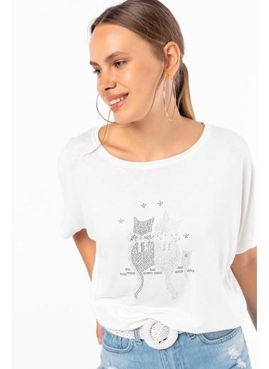 Emjey Kedi Taş İşleme Bluz Beyaz